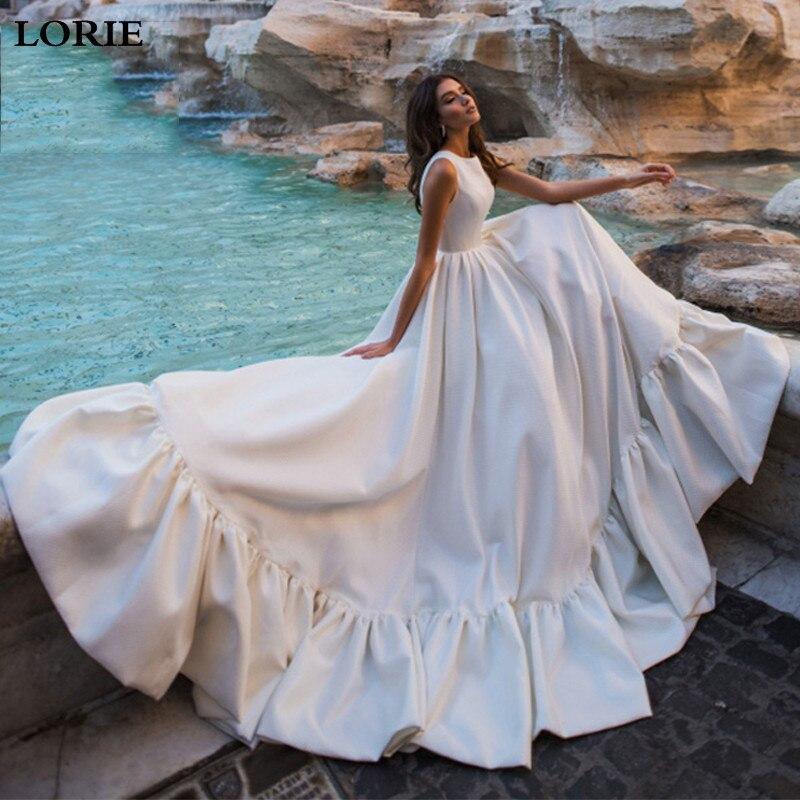 LORIE Princess Wedding Dress A-Line Bride Dresses Satin Boho 2020 Dubai Wedding Gowns Custom Made