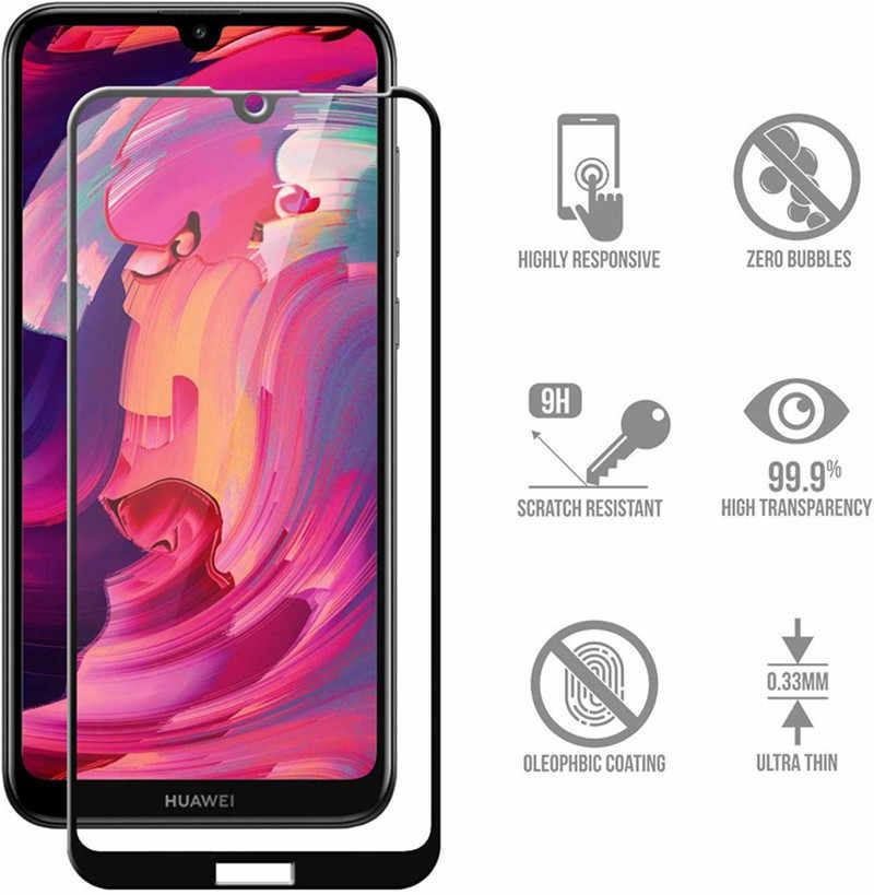 9D Penutup Penuh Kaca Pelindung Di untuk Huawei Y7 Y7prime Y7pro 2017 2018 2019 Screen Protector Tempered Lembar Perlindungan