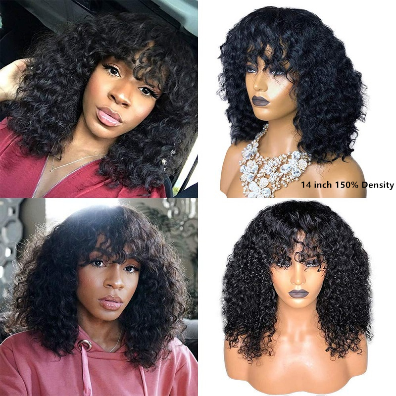 Curly Human Hair Wig With Bangs Silk Base Wigs Brazilian Remy Headspin Wig Pre Plucked For Black Women 1.75*2 Silk Top Wig