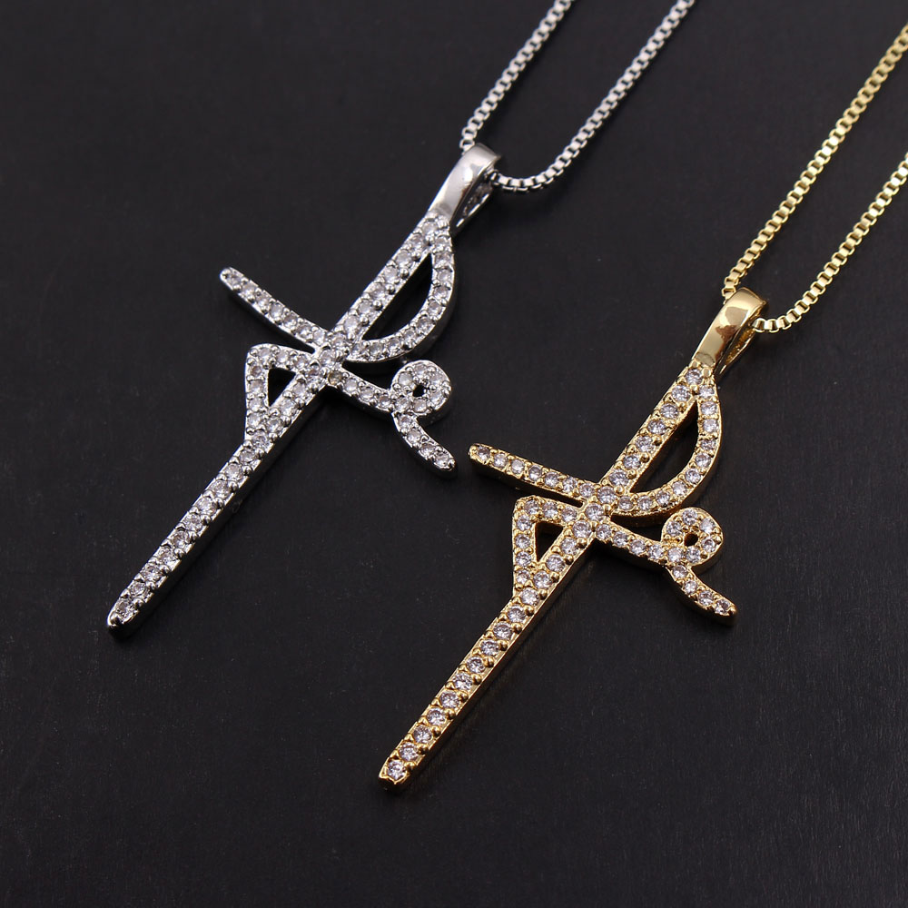 MHS.SUN Riligion FE Belief Cross Pendant Women Mosaic AAA CZ Zircon Necklace Gold Color Chain Necklace For Vintage Jewelry