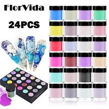 FlorVida 24pcs Set 10g Acrylic Crystal Sculpture Glitter Dipping Pigment Carved Powder Kit For Manicure Design Extension Nails