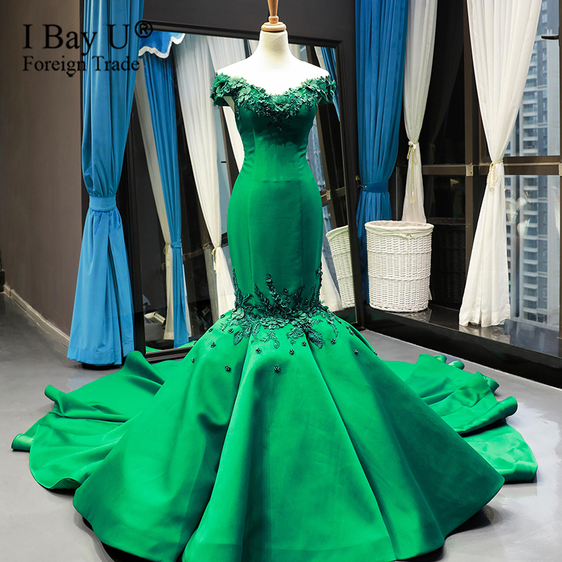 Long Luxury 3D Flower Green Lace Mermaid Wedding Dress Sexy Bridal Train Wedding Gowns 2020 Robe De Marriage Custom Made