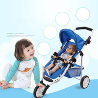 Children's Three wheeled Doll Stroller Doll Toy Car Baby Pretend Play Toys for Childen Birthday Gifts Brinquedos Juguetes