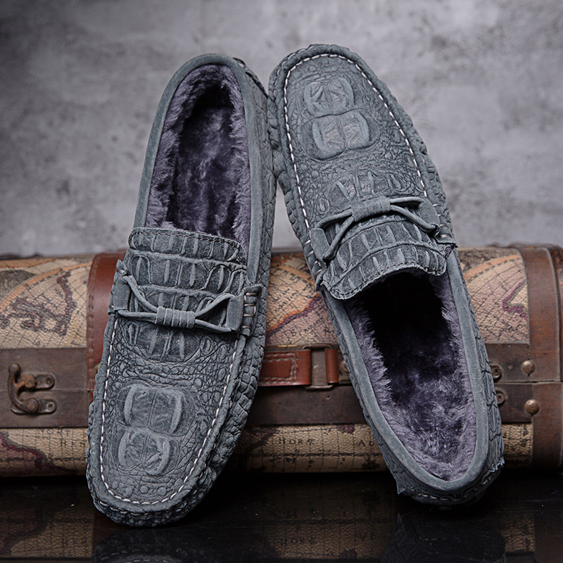 Mocasines De Hombre Winter Plush Men Shoes Fur Flats Slip On Male Loafers Driving Moccasins Homme Mens Casual Shoes Fashion Grey