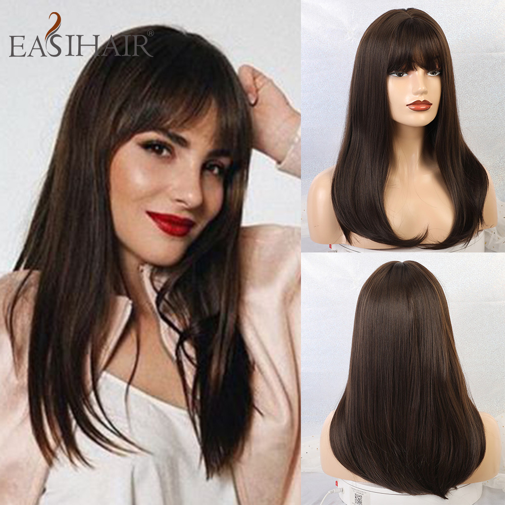 EASIHAIR Long Dark Brown Straight Synthetic Wigs With Bangs Natural Wigs For Women African American Heat Resistant Cosplay Wigs