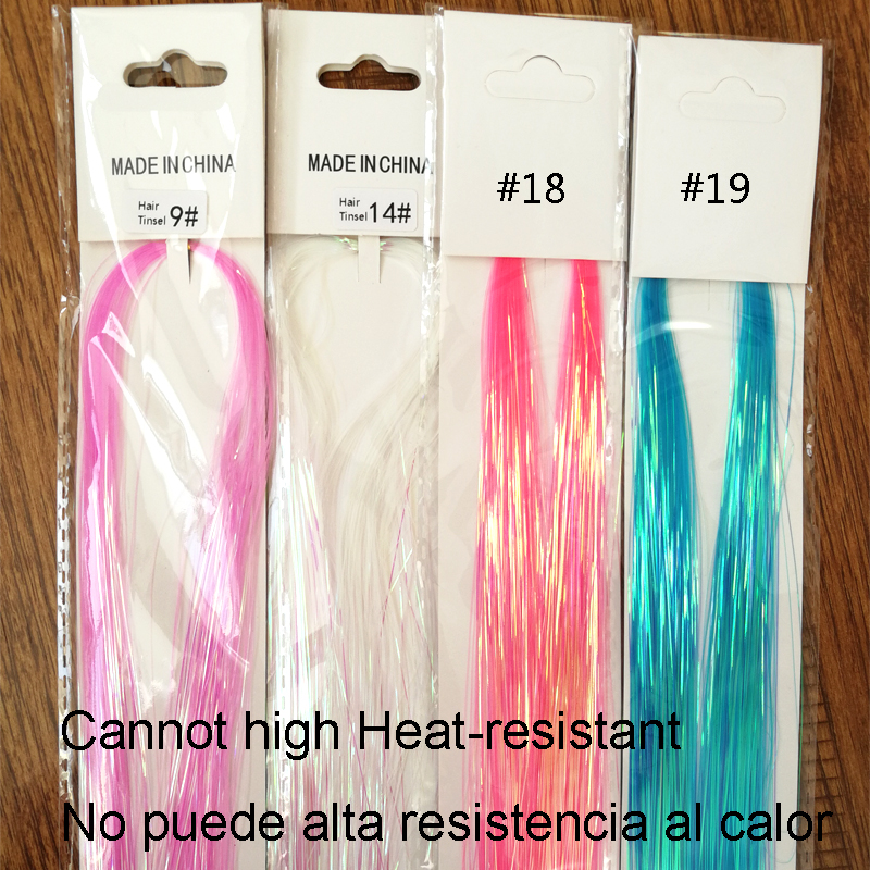 Popular In Mexico 90cm 150strands Party Holographic Hair Accessories Glitter Tinsel De La Hair Extensions Del Pelo