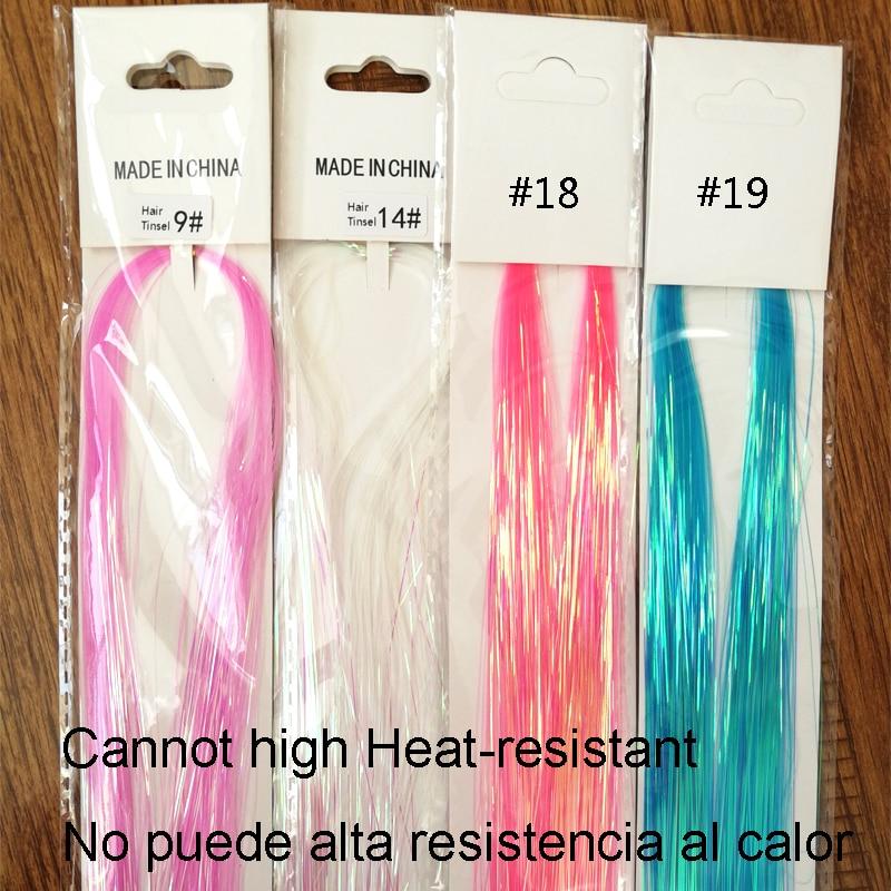 Popular In Mexico 90cm 150strands Party Holographic Hair Accessories Glitter Tinsel De La Hair Extensions Del Pelo