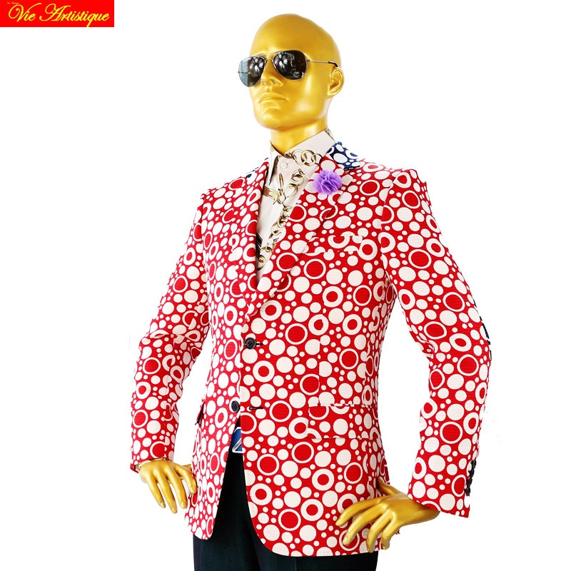 Custom Tailor Made Men's Bespoke Suits Business Designer Wedding Bespoke 2 Piece Suit(Jacket+Pants) Red Polka Dot Cotton Slim 19