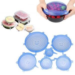 6 Pcs Kitchen Gadgets Kitchen Accessories Reusable Silicon Stretch Lids Universal Lid Silicone Food Wrap Bowl Lid Kitchen Tools