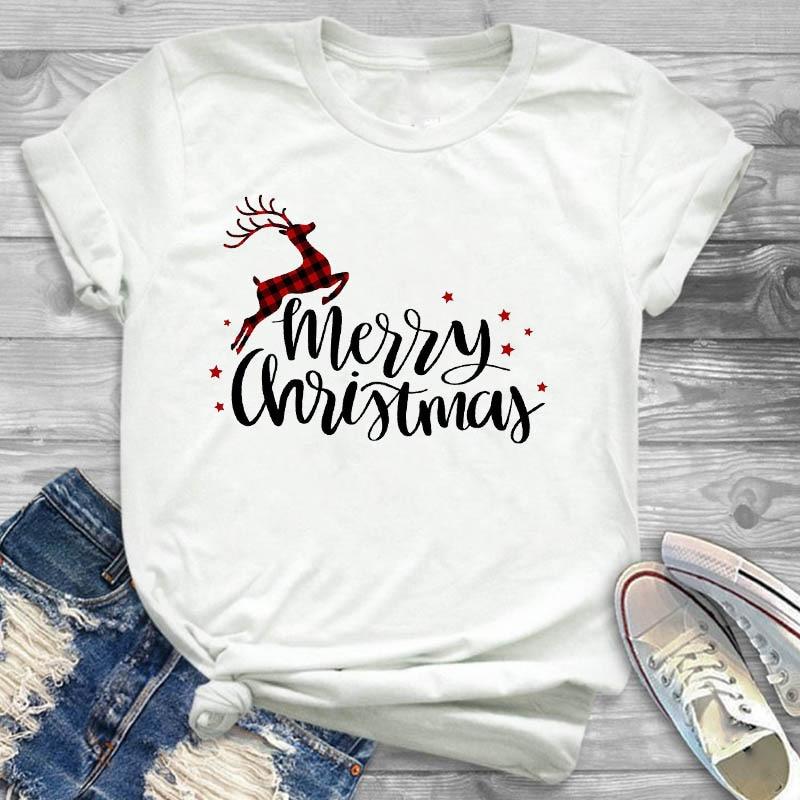 Women Plaid Deer Movies New Year Happy Fashion Print Merry Christmas Womens T-Shirt Tee Tees Graphic Female T Shirt T-shirts