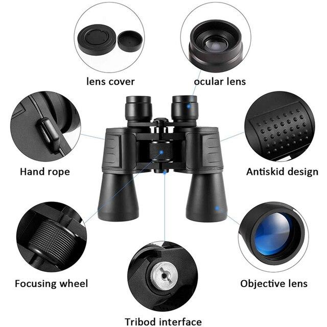 Фото телескоп 20x50 складной бинокль с hd ночным видением для наблюдения