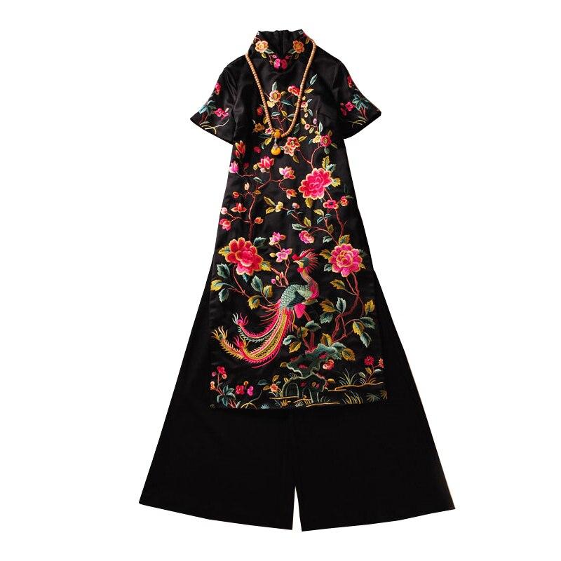 2019 Aodai Vietnam Cheongsam Qipao Dress For Women Traditional Clothing Ao Dai Set Long Embroidery Dress Women Chinese Dress