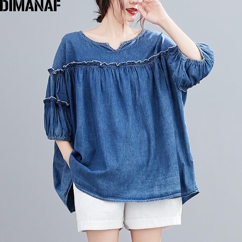 DIMANAF Sommer Plus Größe Frauen Bluse Hemd Rüschen Baumwolle Denim Dame Tops Tunika Lose Gefaltete Casual Oversize Kleidung 5XL 6XL