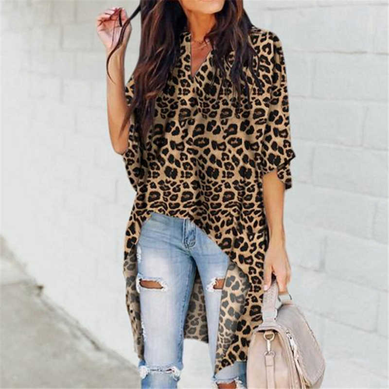 ชีฟองยาวเสื้อผู้หญิง 2019 ฤดูใบไม้ร่วง Leopard พิมพ์เสื้อครึ่งแขนเสื้อ Femme Camisas Mujer