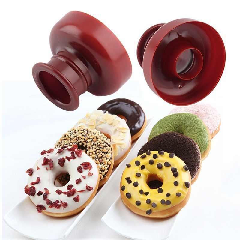 도넛 도넛 제조기 커터 몰드 디저트 퐁당 디저트 베이커리 DIY 쿠키 케이크 몰드 케이크 꾸미기 무작위 컬러 1pc