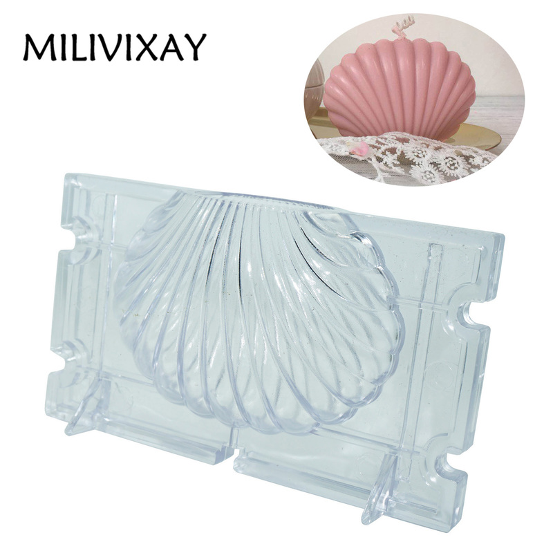 MILIVIXAY 1Pcs 7x9.2CM Shell Shaped Plastic Candle Mold DIY Handmade Scented Candle Mold Home Party Decoration Candle Making