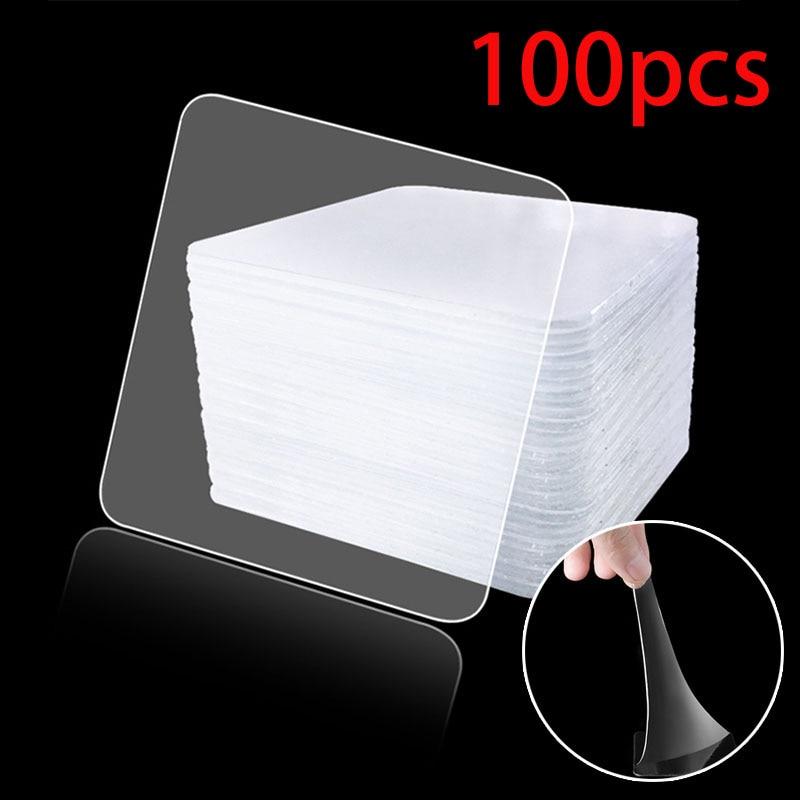 100pcs Double Sided Tape Nano Magic Tape Transparent No Trace Acrylic Reusable Waterproof Adhesive Tape 6x6 Cm Hot Sale