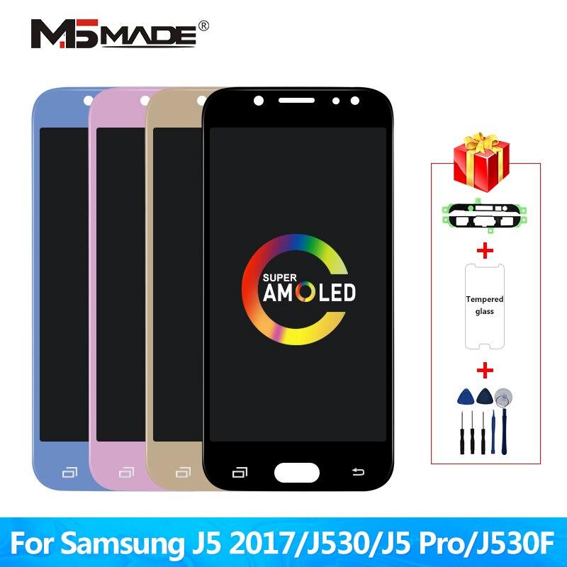 Супер Amoled lcd для samsung galaxy J5 2017 j530 J530F lcd дисплей кодирующий преобразователь сенсорного экрана в сборе lcd для J5 Pro 2017 J5 Duos