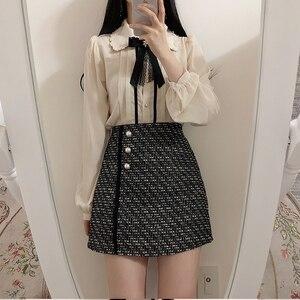 Image 5 - 2020 wiosna kobiet słodkie topy styl Preppy rocznika Japaneses projekt koreański przycisk eleganckie formalne koszule bluzki różowy biały 12020