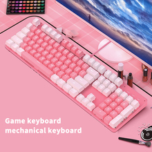 Real-Mechanical-Keyboard Computer Gamer Beautiful Pink Girls And for Cute Peripherals