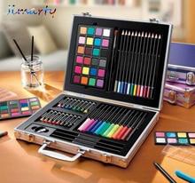 64 개/대 어린이 선물 교육 드로잉 세트 크레용 브러쉬 분필 스케치 연필 물 색 분말 지우개 그림 학교 공급