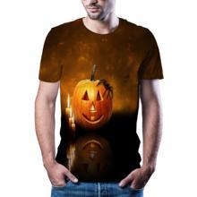 2020 dyniowa głowa lato z krótkim rękawem drukowanie 3D mężczyźni i kobiety moda codzienna T-shirt T-shirt na Halloween tanie tanio CN (pochodzenie) O-neck tops Tees Routine Suknem Poliester Na co dzień