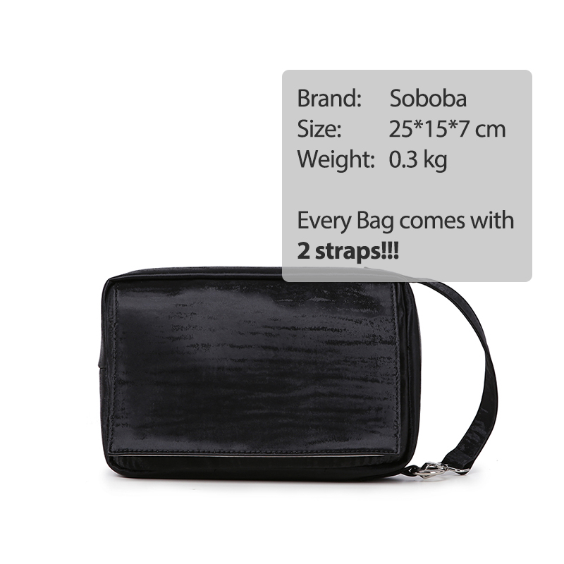 Soboba Baby Diaper Bags Maternity Bag for Disposable Reusable Solid Waterproof Wet Dry Diaper Bag with Handle Black Wipe Bag