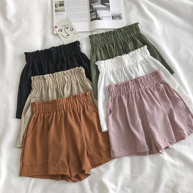 Casual Wild Solid Color Shorts Student Female Shorts Summer 2020 New Korean  Large Pocket Elastic High Waist Hot  Shorts Women