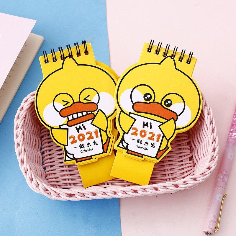 2021 Cartoon Yellow Duck Calendar Kawaii Duck Mini Desk Calendars Daily Schedule Planner 2021.9-2021.12 4