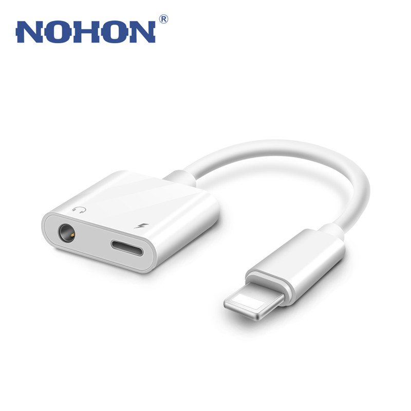 2 In1 Adapter For IPhone XR X XS MAX 7 8 Plus Lightning To 3.5mm Audio Charger Cable Phone Music Converter Jack Earphone Adapter