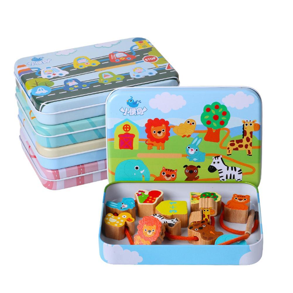 12Pcs/Set Wooden Cartoon Fruit Animal Lacing Threading Beads Game Educational Children Toy Kids Gift