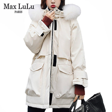 Jacket Max-Lulu Coats Padded Parkas Duck-Down Real-Fur-Collar Korean-Fashion Plus-Size