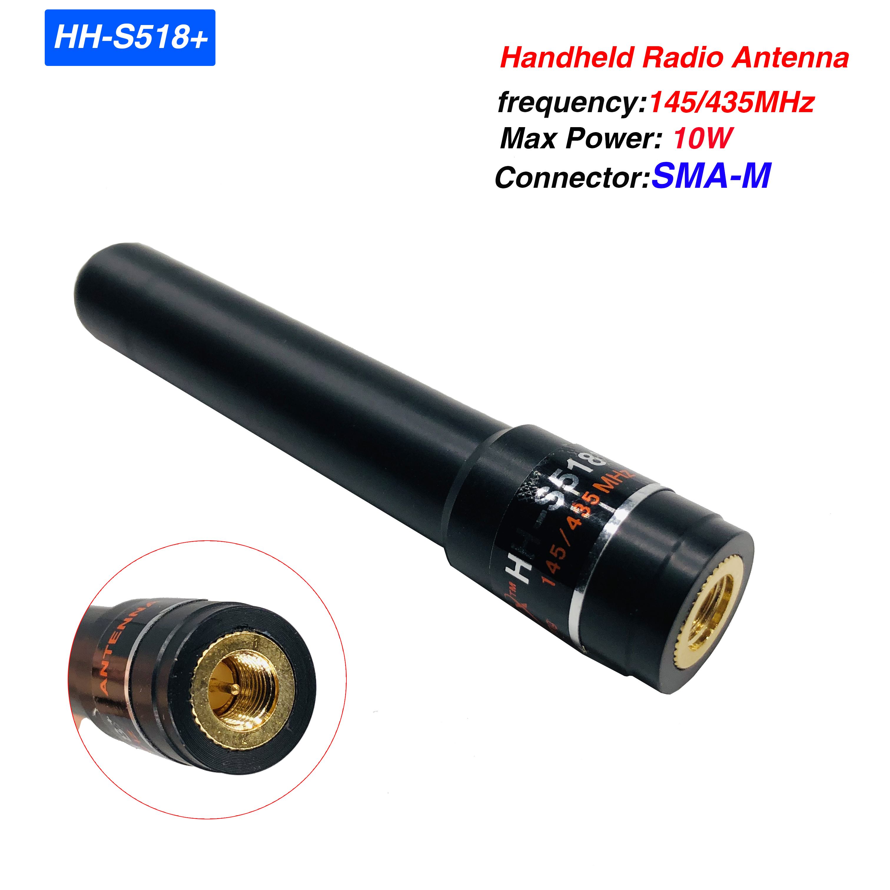 HH-S518+ SMA-M Male High Gain Stubby Antenna 10w Dual Band 145/435MHz Two Way Radio Antenna For BAOFENG UV-3R UV-100 UV-200 TYT
