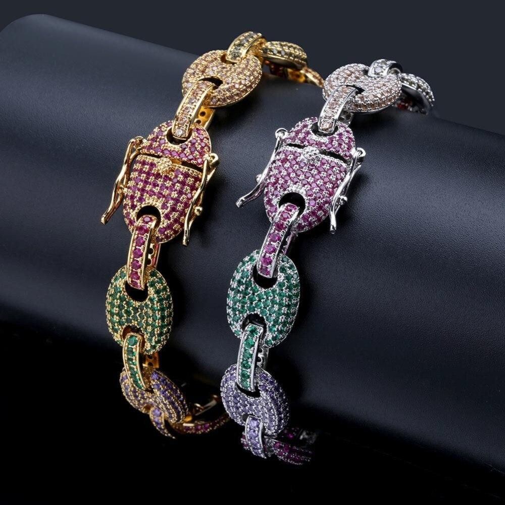 Hommes/femmes mode Hip Hop bijoux Micro Pave coloré cubique zircone solide bouton chaîne arc-en-ciel Bracelet 7 8 pouces - 3