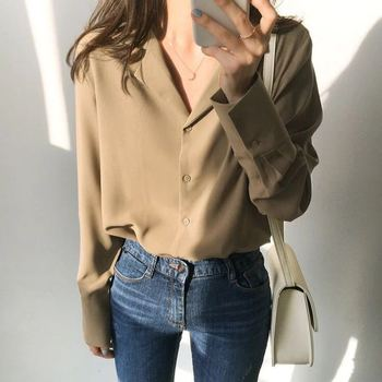 Womens Tops And Blouses Solid White Chiffon Blouse Office Shirt Blusas Mujer De Moda 2021 Long Sleeve Women Shirts Clothes A405 3