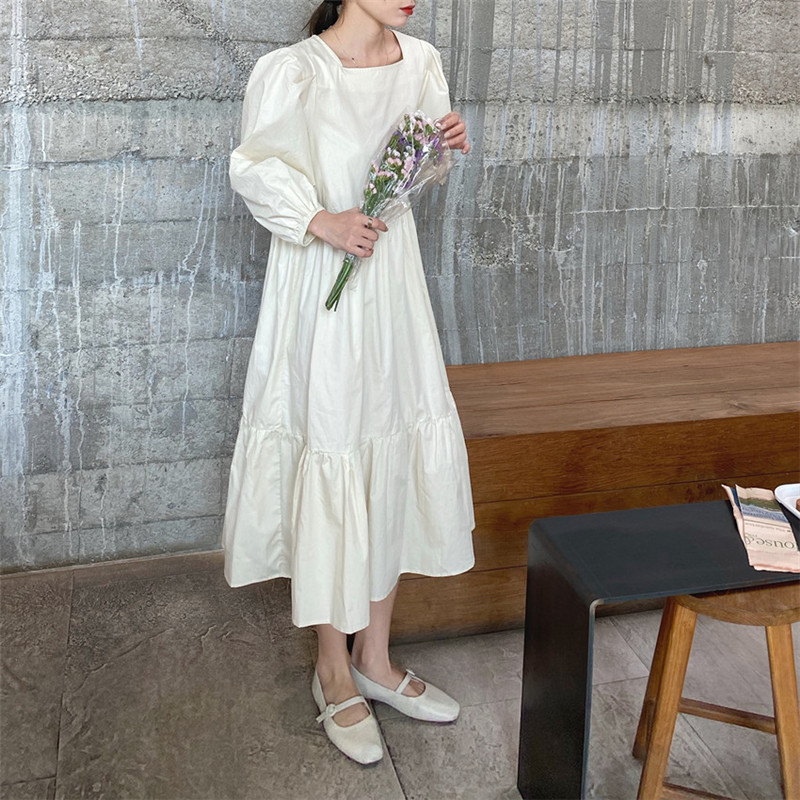 H1845ecb5cb71458db59a6a45705f44eeJ - Spring / Autumn Square Collar Long Lantern Sleeves Loose Solid Midi Dress