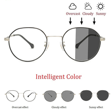 Round Anti Blue Light Glasses Photochromic Sunglass
