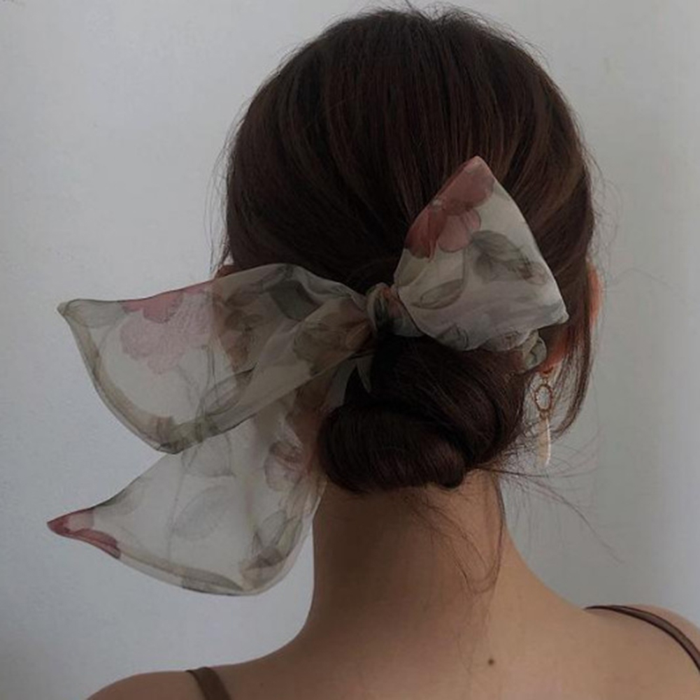 Oversized Tulle Bowknot Hair Scrunchies Large Hair Bow Ponytail Ties Rope Elastic Mesh Hair Bands Sweet Women Hair Accessories