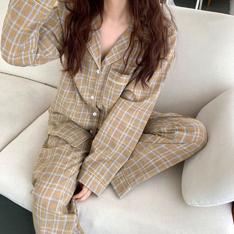 Pajamas Home Wear Suit Korean New Cotton Women's Sleepwear Fashion Plaid Autumn Winter Long Sleeve Pyjamas Nightwear Pijamas Set