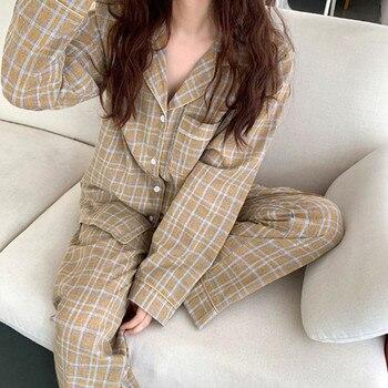 Pajamas home wear suit korean new cotton women's sleepwear fashion plaid autumn winter long sleeve pyjamas nightwear pijamas set fresh leaf pyjamas women 2020 autumn fall stitch pijamas set 100