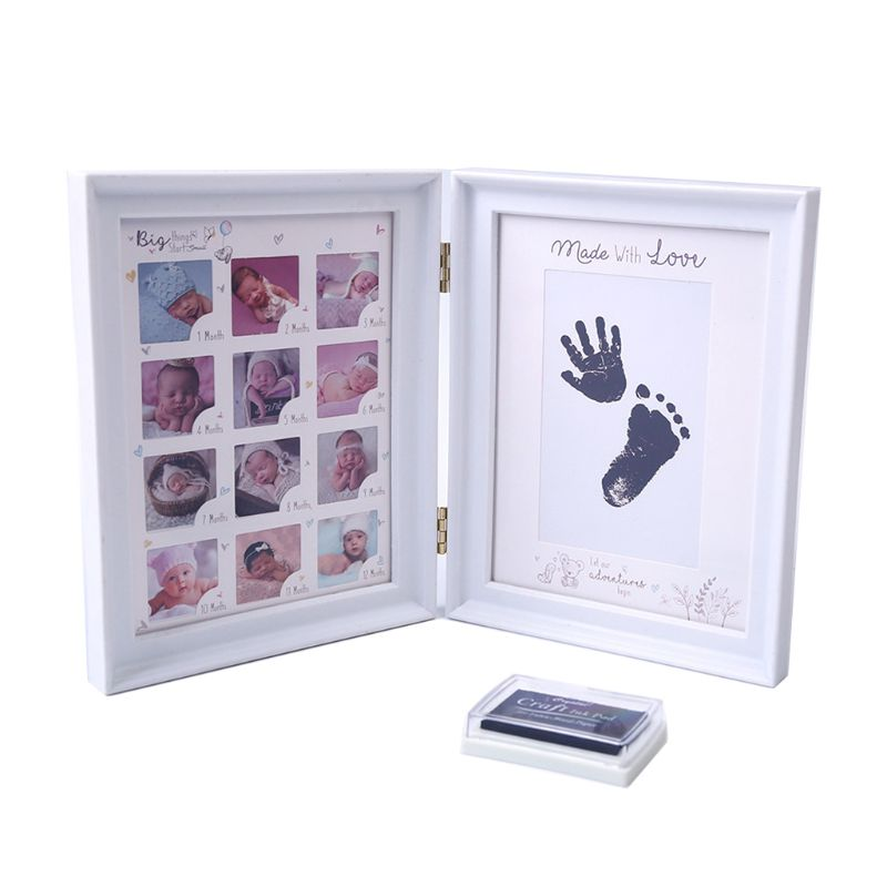 Newborn Baby Hand Foot Ink Pad Print Infants Full Moon Age Growth Photo Frame Baby Gift Children Birthday Gift