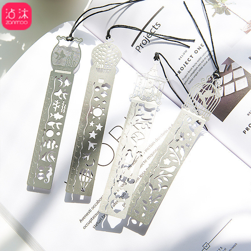 0006 Hollow Out 4-Classical Metal Ruler Bookmark Creative Students Gift Antique Style Gift Retro Stationery Steel Ruler