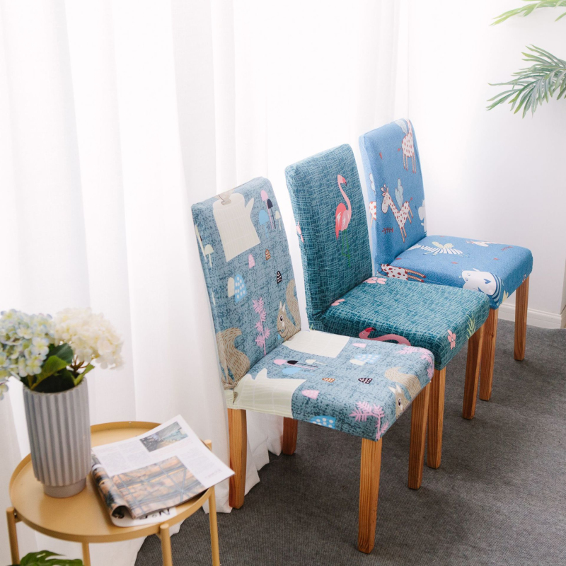 Universal Elastic Printing Dining Chair Slipcover Modern Removable Anti Dirty Kitchen Seat Case Stretch Chair Cover Leather Bag
