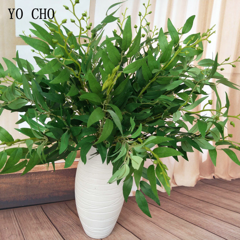 YO CHO DIY Bouquet Decoration Artificial Willow Leaf Green Grass Drop Shipping White Flower Plant Home Vase Decor Fake Flowers