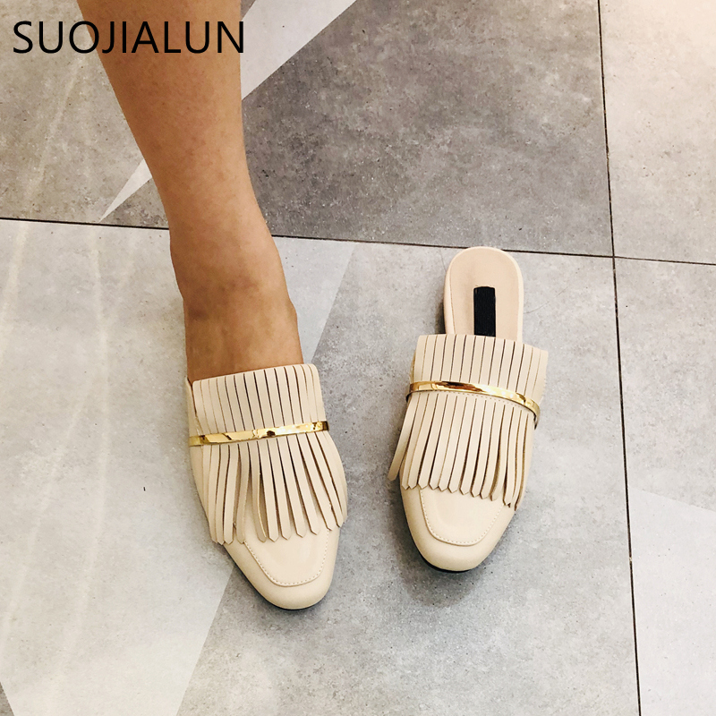 SUOJIALUN 2019 New Women Mules Slipper Flat Heel Slip On Loafer Fashion Tassel Flat Casual Mule Sandal Shoes Female Chaussure in Slippers from Shoes