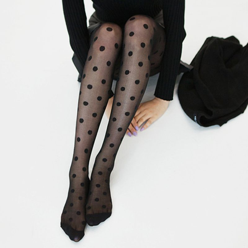 Women Sweet Girls Acrylic Fiber Thin  Sexy Perspective Large Polka Dot Pattern Printed Footed Tights Slim Stockings Jac