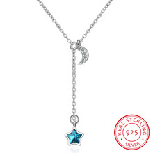 Simple Fashion Blue Crystal Moon Star Tassel 925 Sterling Silver Necklace For Women Collares Clavicle Necklace Kolye(China)