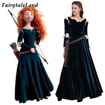 цена Brave Merida Costume Adult Women Cosplay Halloween Princess Dress Fancy Party Outfit Carnival Stage Performance Clothing онлайн в 2017 году