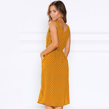 women dot printed causal dress 2020 summer sleeveless v neck with buttons pockets high waist casual office ladies vestidos mujer 3