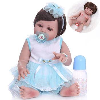 NPK DOLL 48CM Full body silicone newborn bebe reborn baby girl soft realistic doll Bath toy waterproof Anatomically Correct